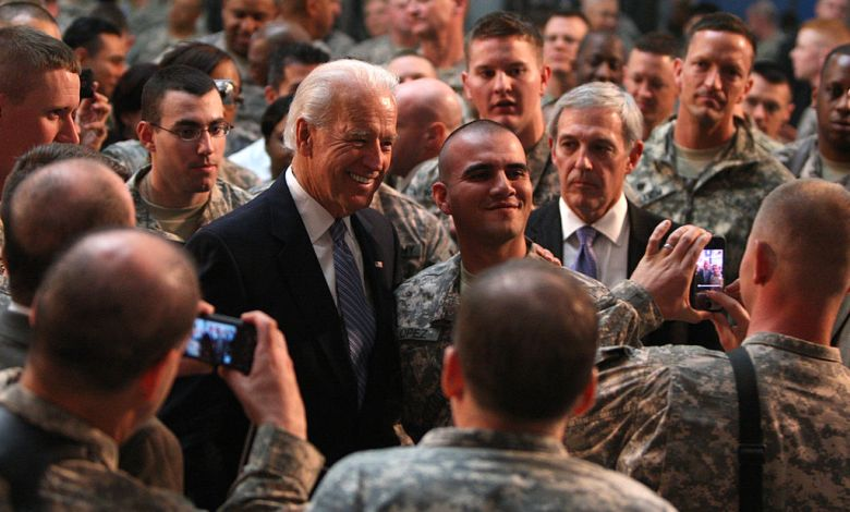 biden with troops in afghanistan